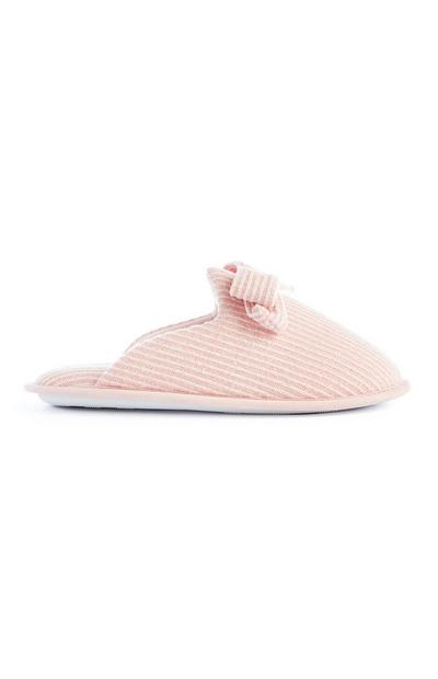 Pink Bow Scallop Mule Slippers