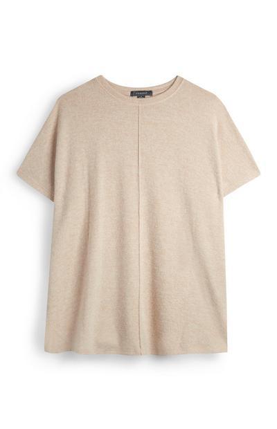 Crèmekleurig T-shirt met textuur