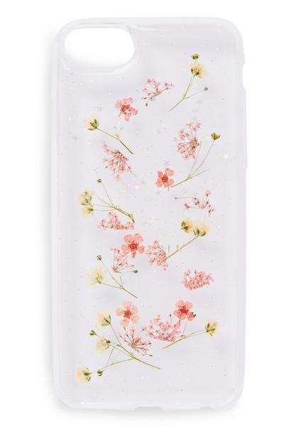 Capa telemóvel padrão floral branco