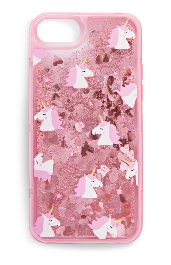 Rožnat ovitek za telefon z bleščicami in samorogi