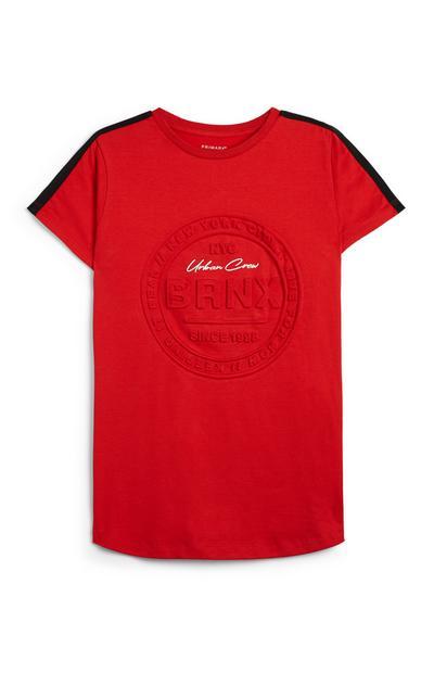 Older Boy Red BRNX Embossed T-Shirt