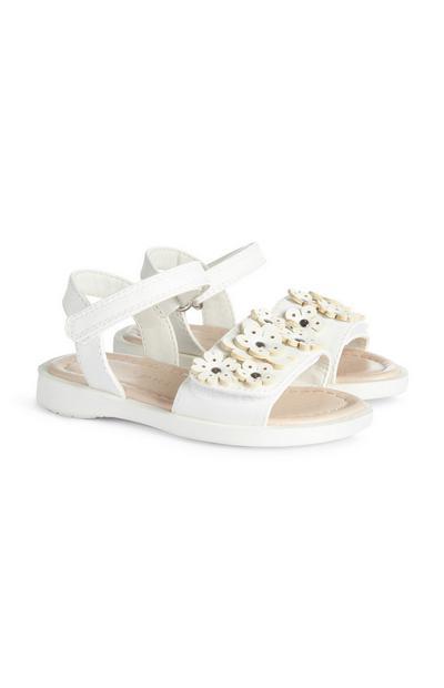 Bele sandale z rožicami za deklice