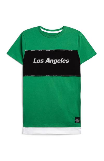 Older Boy Green Los Angeles Slogan T-Shirt