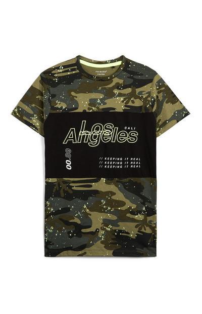 Older Boy Camo Print Paint Splash Los Angeles T-Shirt