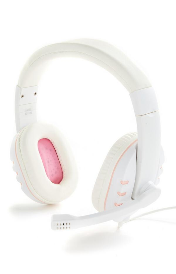 Weiß-rosa Gaming-Kopfhörer