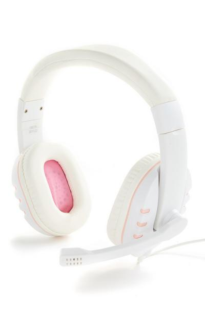 White/Pink Gaming Headphones