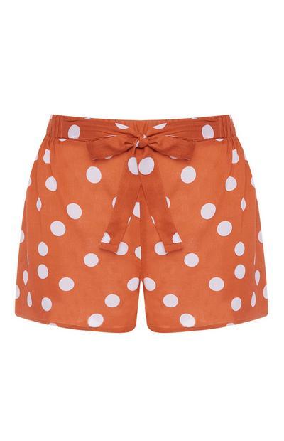 Oranžne pikčaste kratke hlače s vezanjem spredaj