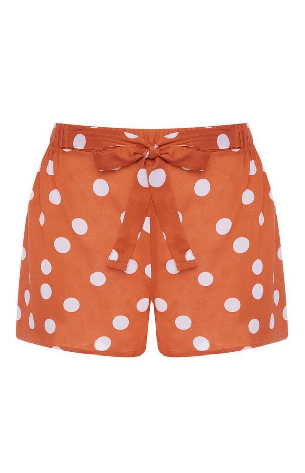 Orange Polka Dot Front Tie Shorts