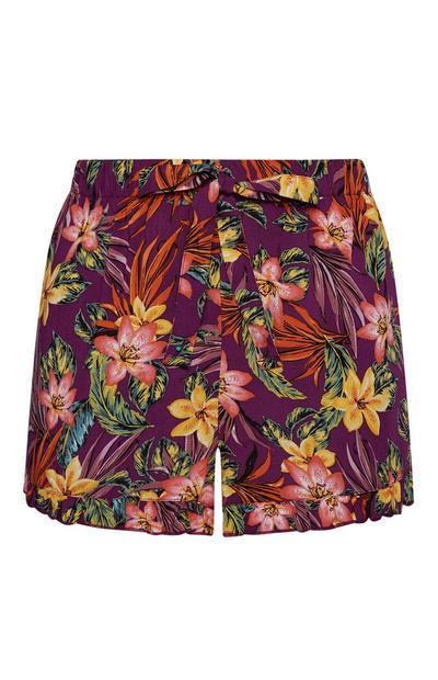 Multi-Color Floral Pajama Shorts