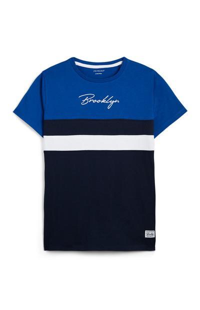 T-shirt blu e nera con scritta Brooklyn ragazzo