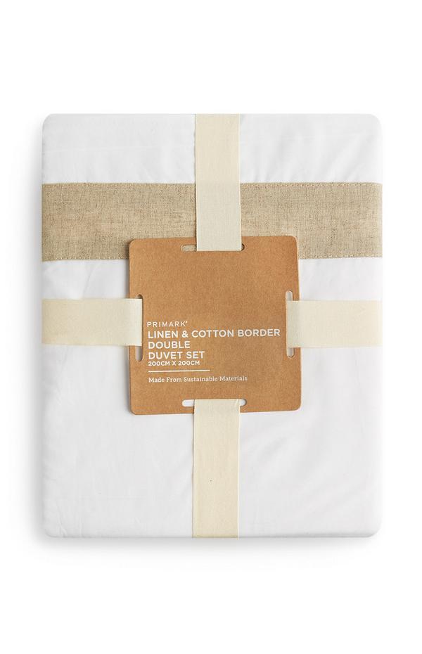 Bettwäsche aus Leinen mit Baumwollbordüre, Doppelbett