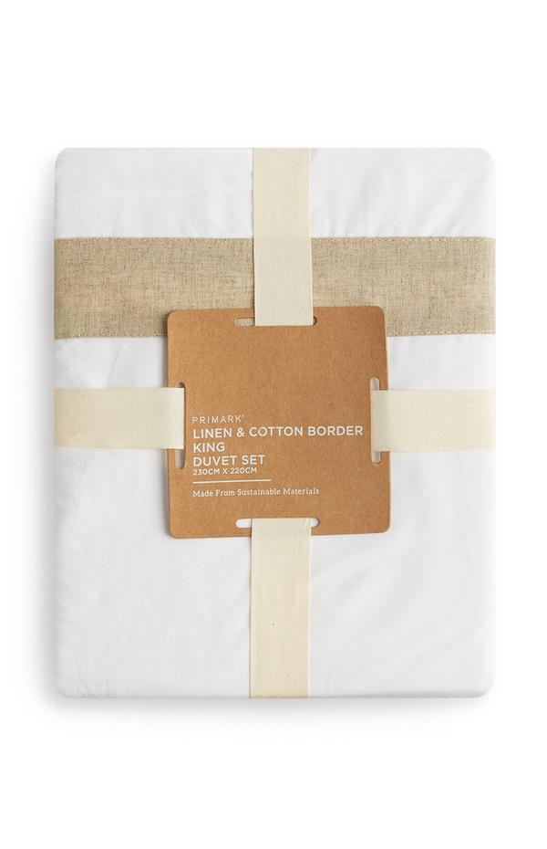 Weiße Bettwäsche aus Leinen mit Baumwollbordüre, Kingsize
