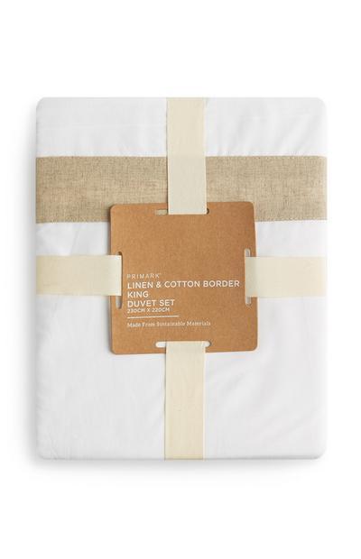 Set piumone king size bianco con bordo in lino e cotone