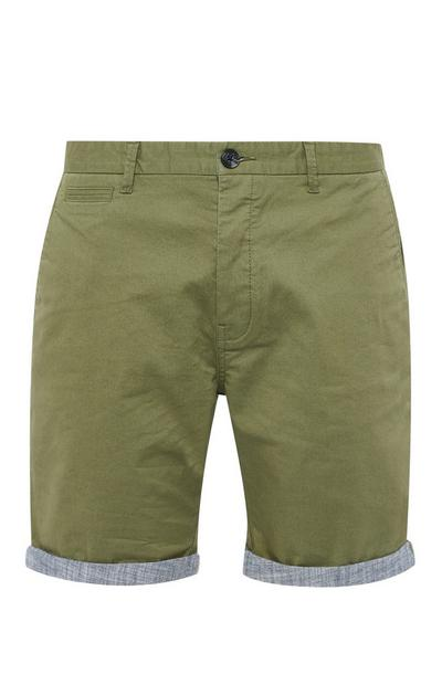 Short chino kaki en chambray