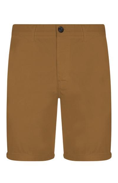 Pantalón corto chino de cambray de color marrón