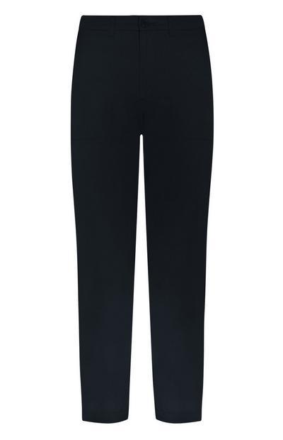 Pantalon chino bleu marine à poche plaquée