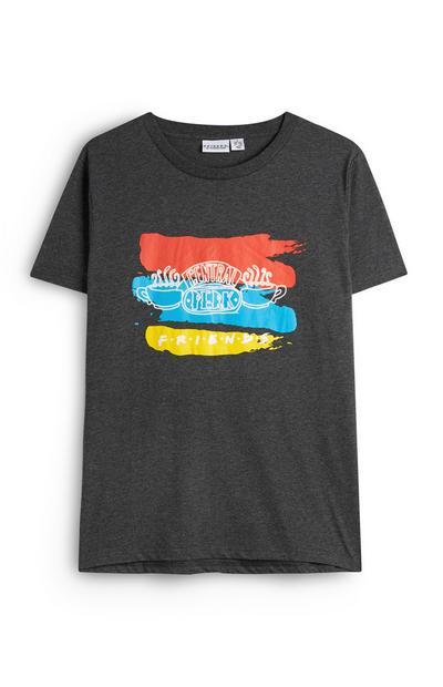 T-shirt gris foncé Friends Central Perk avec des traits de pinceaux