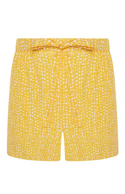 Gelbe Pyjamashorts mit feinen Punkten