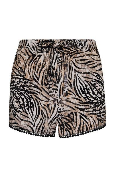 Shorts marroni con stampa zebrata