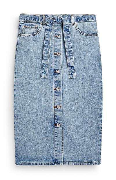 Gonna longuette in denim con cintura