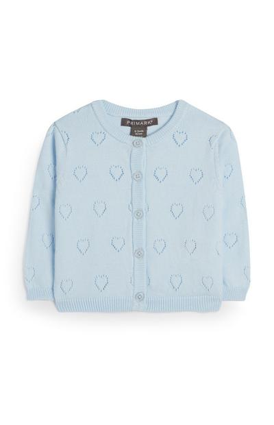 Baby Girl Blue Pointelle Heart Print Cardigan
