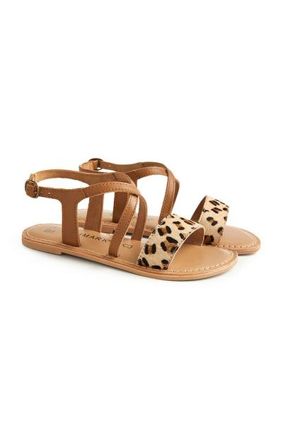 Older Girl Leopard Tan Sandals