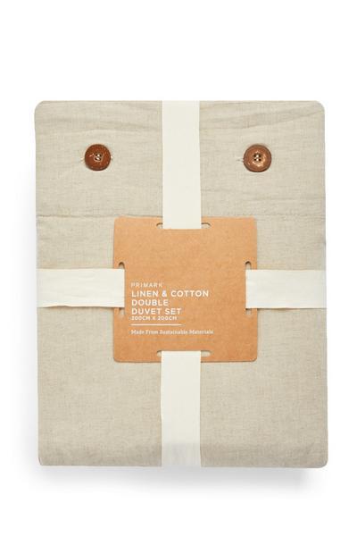Linen And Cotton Buttoned Double Duvet Set
