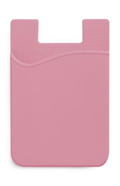 Porta-cartões silicone cor-de-rosa