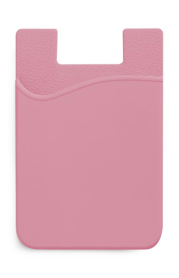 Porte-cartes rose en silicone