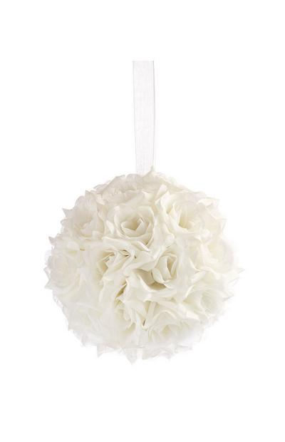 White Faux Flower Decorative Ball