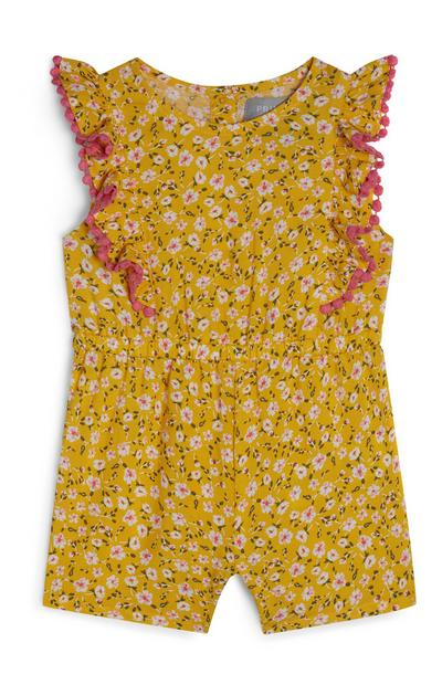 Baby Girl Yellow Floral Ruffled Viscose Playsuit