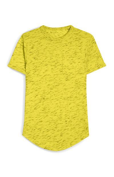 Yellow Heather Front Pocket Crew Neck T-Shirt