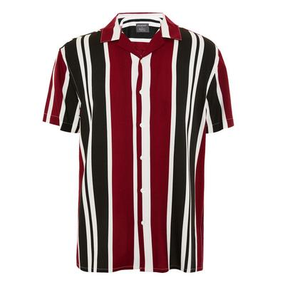 Burgundy And Navy Striped Short Sleeve Shirt