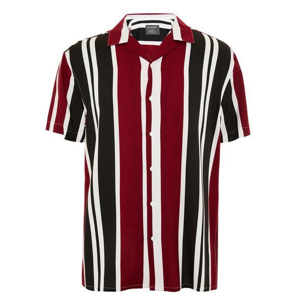 Burgundy Striped Viscose Short Sleeve Shirt
