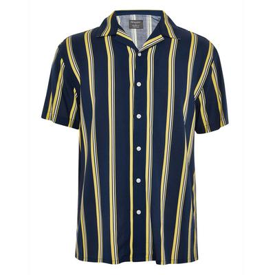 Black And Yellow Short Sleeve Viscose Shirt