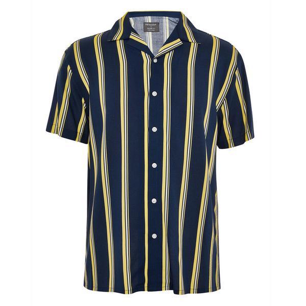 Donkerblauw gestreept overhemd van viscose met korte mouwen