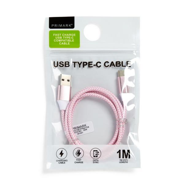 Cavetto ricarica USB C rosa 1 m