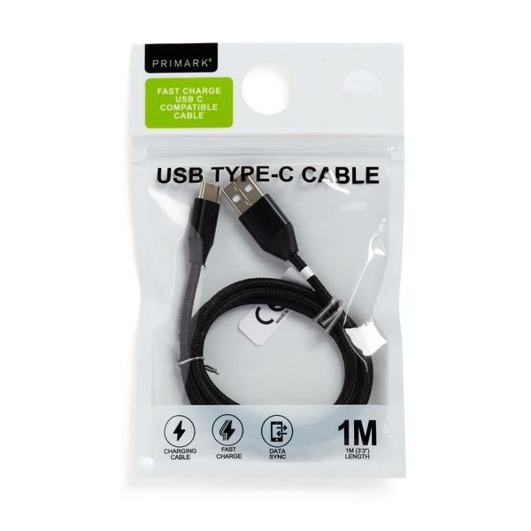 Black Usb C Charging Cable 1m