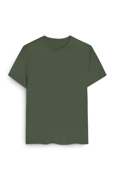 T-shirt corte largo algodão orgânico caqui