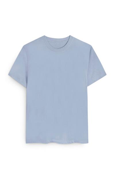 T-shirt blu squadrata in cotone biologico
