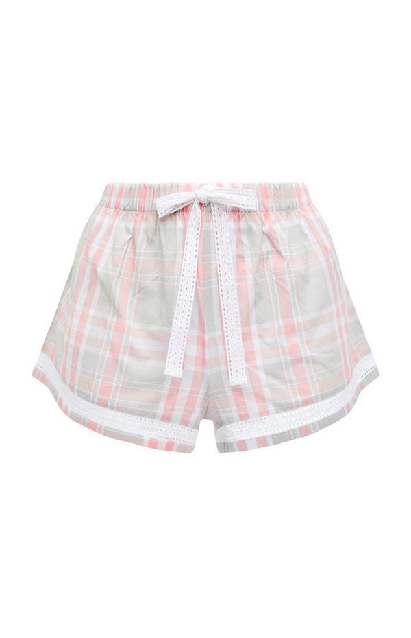 Pink/Gray Check Woven Pajama Shorts
