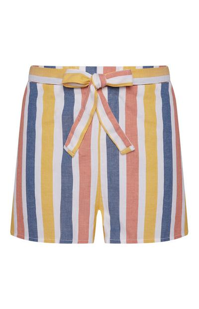 Pastel Coloured Tie Front Shorts