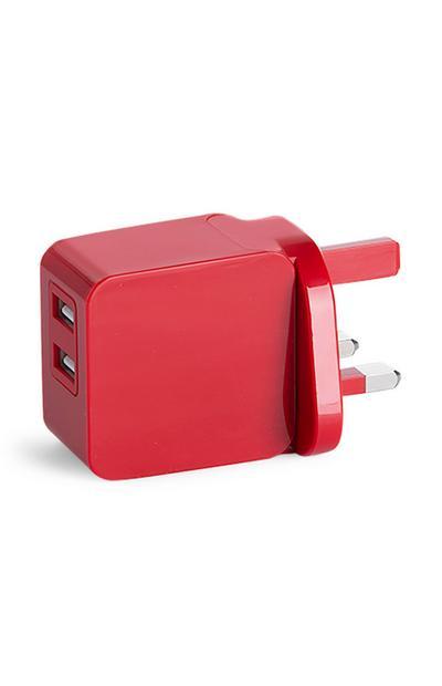 Red Dual USB Plug