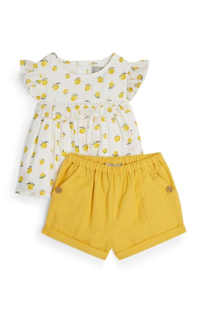 Baby Girl Yellow Lemon Shirt And Shorts