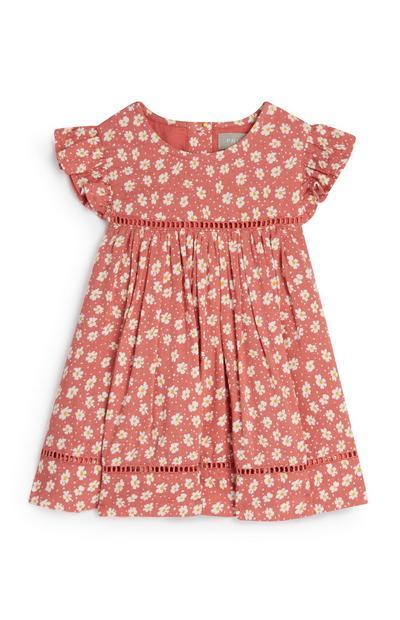 Robe rose en viscose à imprimé marguerites bébé fille