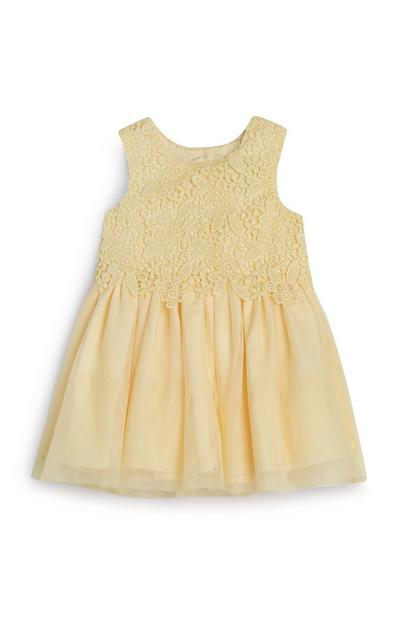 Baby Girl Yellow Lace Mesh Dress
