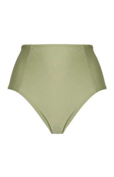 Olijfgroen bikinibroekje met hoge taille