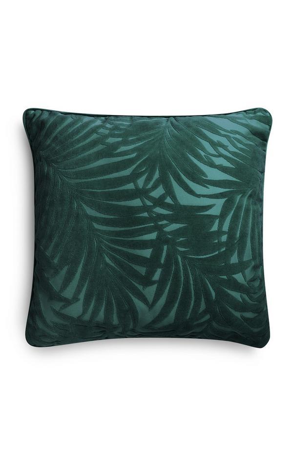 Cojín de terciopelo verde oscuro con estampado de palmeras