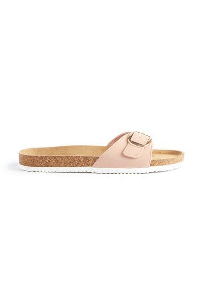 Light Pink Buckle Slider Sandals