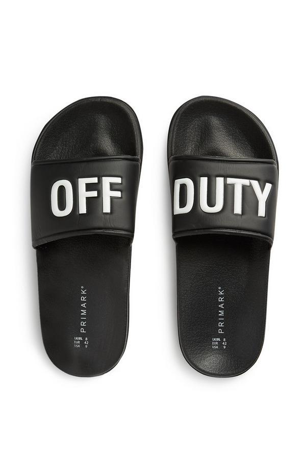 """Schwarze Badesandalen mit """"Off Duty""""-Slogan"""